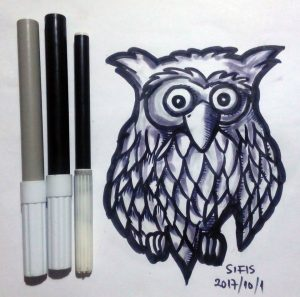 Owl - Cheap markers sketch