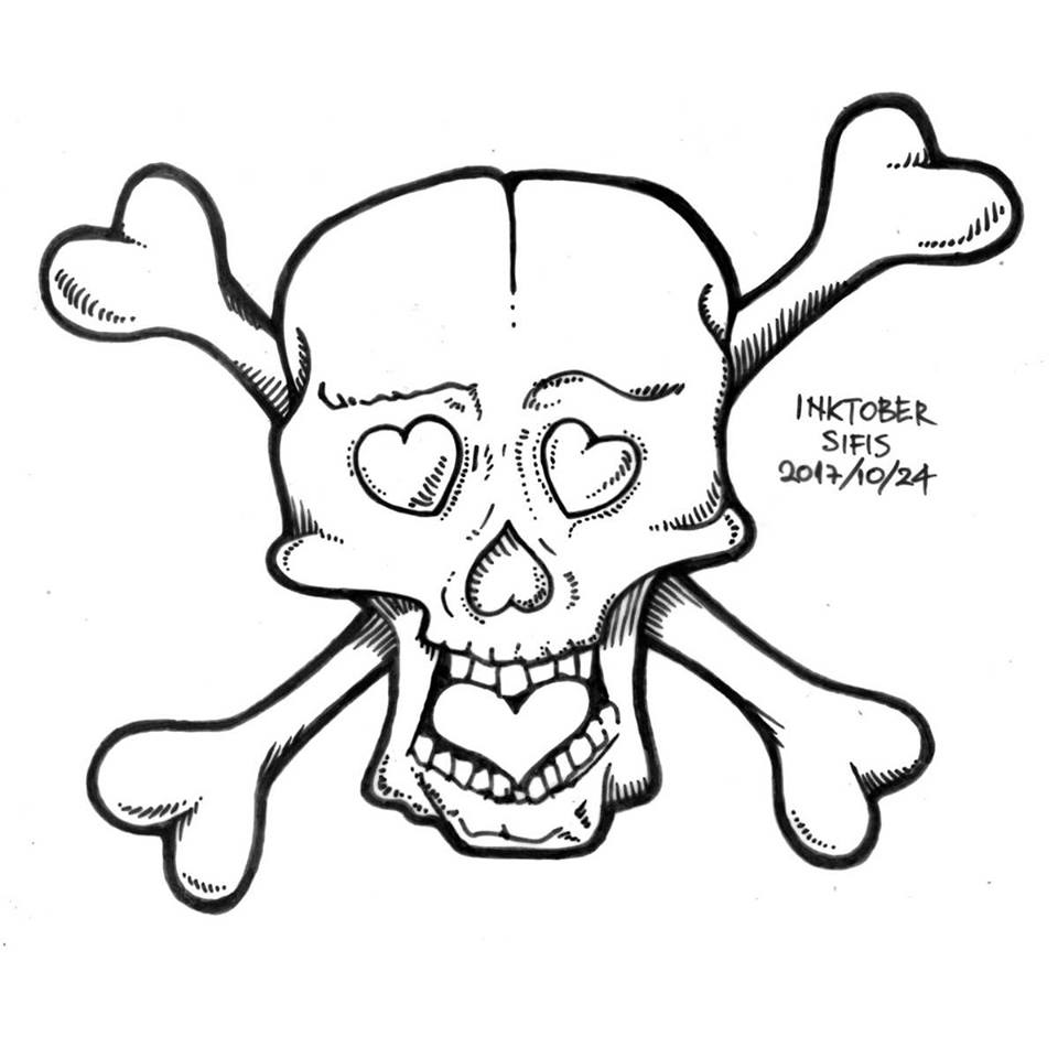 Skull with Hearts - Marker sketch