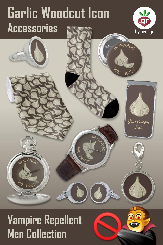 Garlic Woodcut Icon Men Accessories